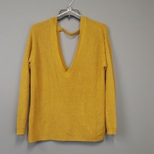 Forever 21+ yellow cut out detail sweater plus sz